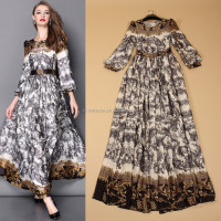 Hot Sale 2015 New Arrival Quality High-end Long Lantern Sleeves Printed Vintage Runway Fashion Maxi Long Women Name Brand Dress