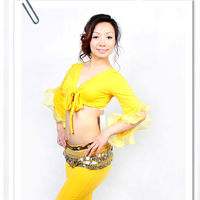 Stylish and Comfy Belly Dance Practice Wear with Yellow Color