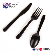 Cutlery set BPA FREE PP disposable black plastic fork spoon knife in one for airplane