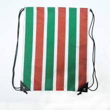 Red and Green Stripe Custom Drawstring Bag With Black Drawcord