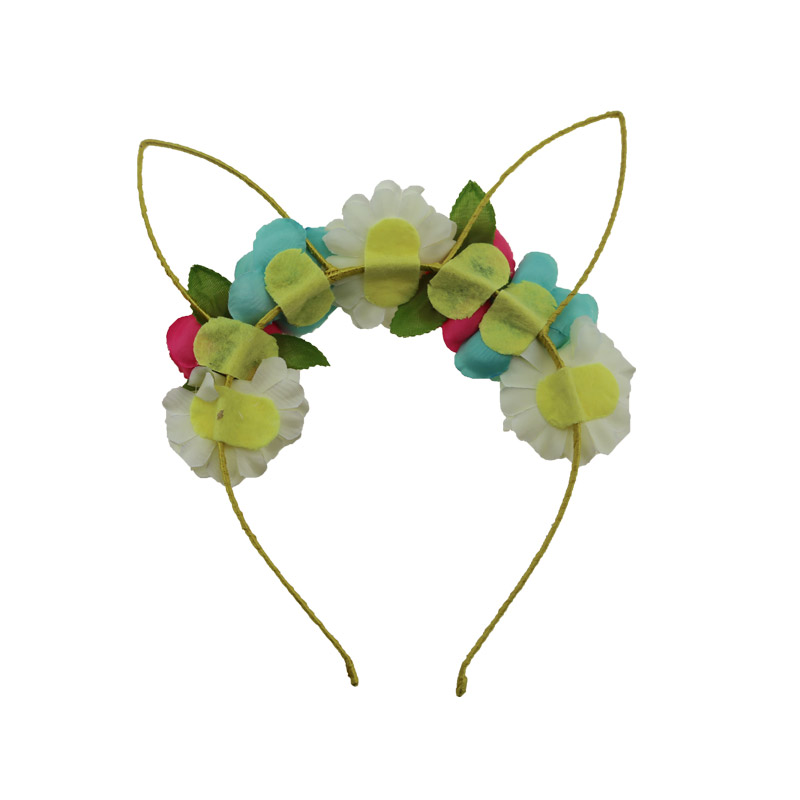 New design girl cute flower cat hair band with ribbon Hair band girl accessories