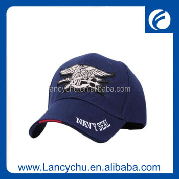 wholesale 100 %polyester navy seal 3d embroidered military hat for man