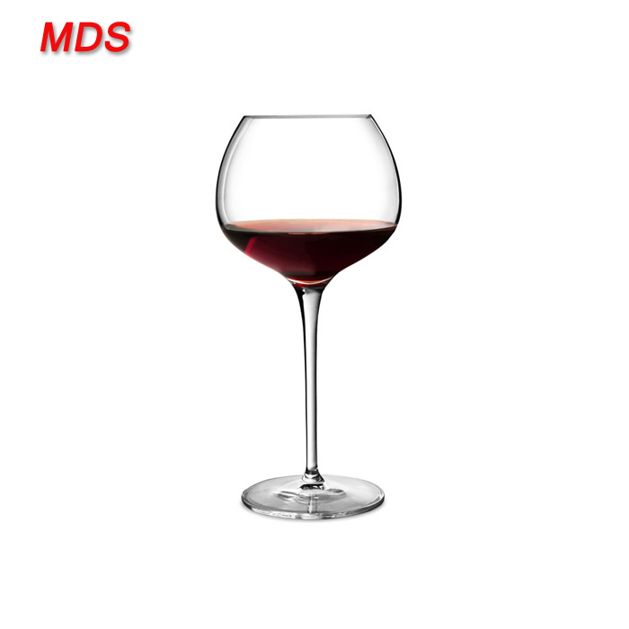 Lead free crystal super pewter stem red lined wine glass