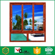 Manufacture australia certificate factory price aluminum frame wood colored slide sash window