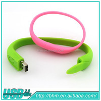 Colorful gift rubber wrist band usb flash pen drive