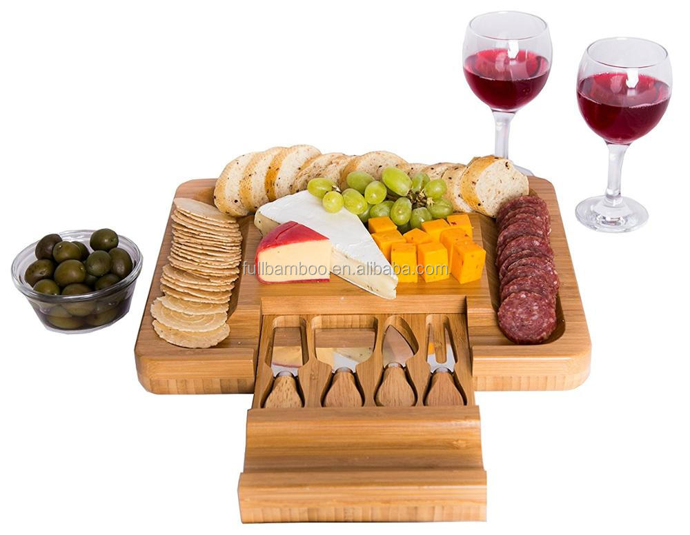 Wholesale bamboo cheese board with knife drawer set