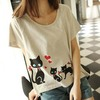 N3207 Sweet Cat Printed Loose Ladies