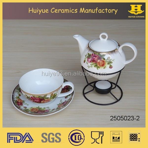 Ceramic tea pot metal warmer cup saucer, tea for one set