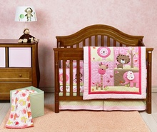 3d embroidery elephant girl baby crib bedding set 2018