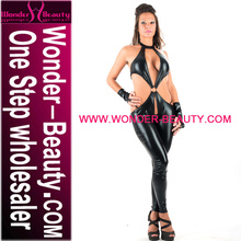 Sexy Black Catwoman Catsuit Pole Dance Costume Leather Latex Catsuit