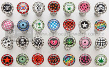 Surgical steel epoxy picture tongue ring stainless steel crystal logo tongue barbell body piercing jewelry