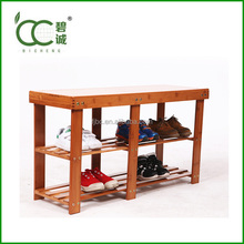Shoe Rack Cover in Bamboo Furniture Bench as Shoe Stool