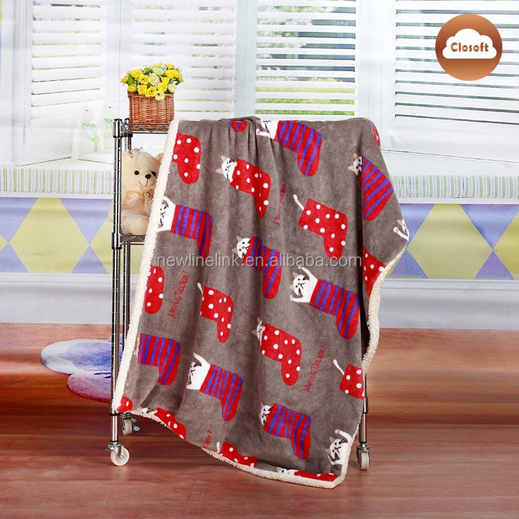 Fashion catroon printed winter crochet baby blanket