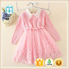 Autumn Kids New Items Appliqued/Beaded Clothes Long Sleeve Child Sweaters Casual Girls Pink Sweater Big Bow Dresses