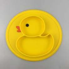 Duck Shaped Suction Silicone Baby Placemat Divided <strong>Plate</strong>