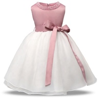Pabasana pink flower little girl satin wedding princess dress for 3 years with high quality