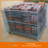 heavy/medium/light duty wire rolling container metal cages for storage