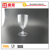 New Promotional colored Bead stem plastic wine Glass/purple bead wine glass cup