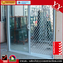 Aluminum glass sliding door with double gglass and paburglarproof grille