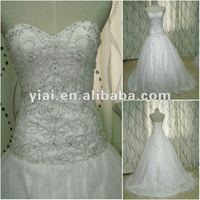 JJ2648 Drop Shipping Ball Gown sliver embroidery white designer Bridal wedding dress 2012