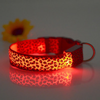 2016 Fashional pet collars Leopard Print collar Flashing Led Dog Collars