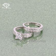 Fashion jewellery customized design 925 silver engagement couple ring