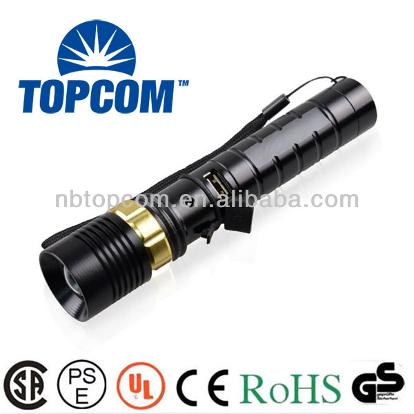 cree led usb charger flashlight with charger hole TP-1853