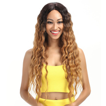 Deep curly brazilian hair wig high quality, cheap synthetic deep wave lace front wig with baby hair