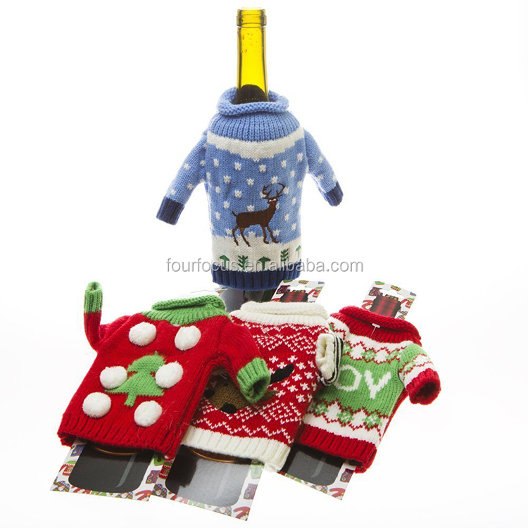 Christmas Wine Bottle Covers,Santa Claus Home Party Decoration Red Wine &Champagne Beer Knit Sweaters Clothes& Hat Bottle Cover
