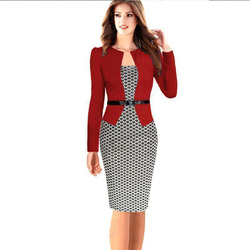 Hot Selling Top Quality 2017 Amazon Fashion Elegant Women Business One-piece Clothing Office Wear Pencil Dress