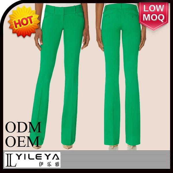 workwear style fashion green formal pants for girls