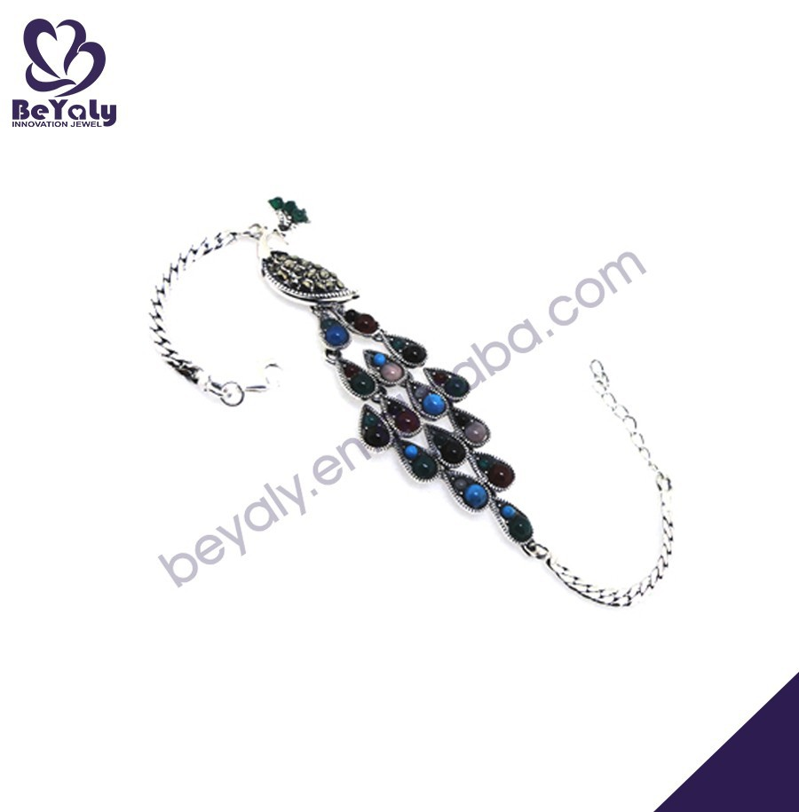 Colorful stone wholesale peacock shape silver tribal jewellery