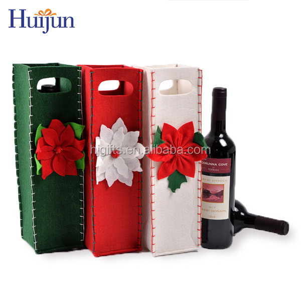 2017 Popular Christmas 3MM felt wine bottle bulk gift bags