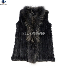 Fashion gilet knitted rabbit fur winter fur vest women without tassels