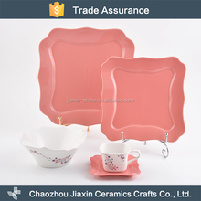 New design pink and white decal square ceramic tableware set