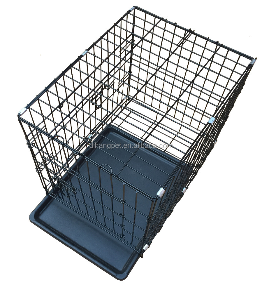 Foldable Metal Wire Dog Cage with Plastic Tray