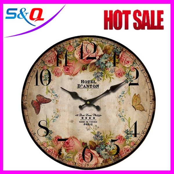 Wholesale Round wooden digital wall clock antique wooden clock
