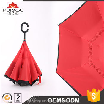 2017 hottest style new function popular red color waterproof double layer inverted umbrella auto open