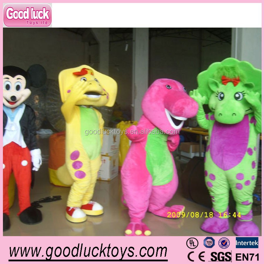 advertising Barney and friends mascot costume,fur mascots/baby bop adult costume for party