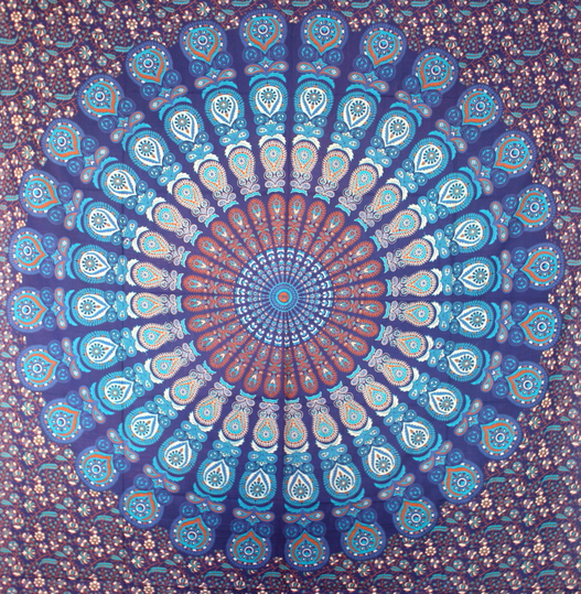 Dark Blue Base Turquoise With Peacock Feather Rectangle Mandala Queen Size screen printed India Cotton Tapestry