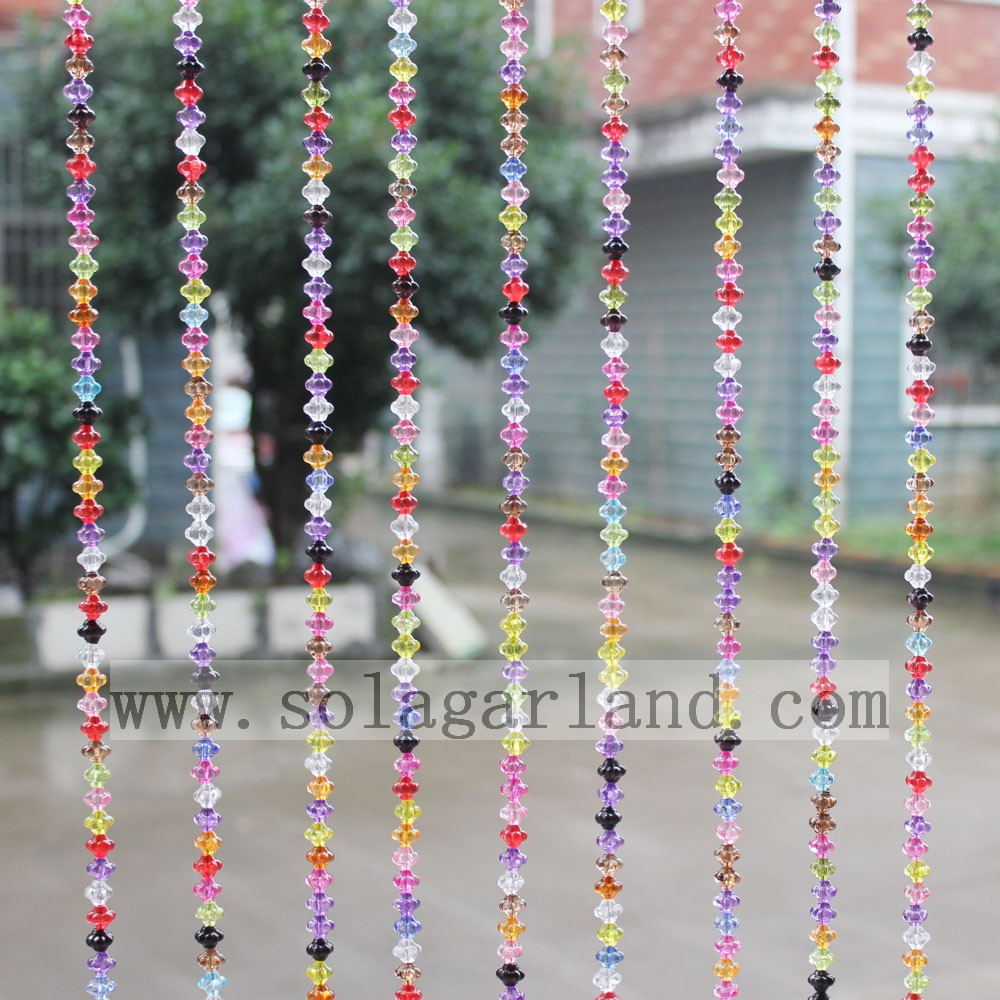 Fashion Crystal Bead Sheer Curtains Luxury Style Colorful Crystal Beaded Door Curtain Factory Wholesale Price