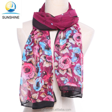 China Factory Uniform 100% Polyester Silk Lady Scarf