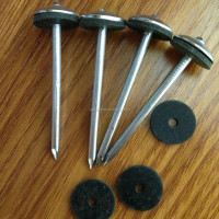 Plain shank roofing nail with rubber washer
