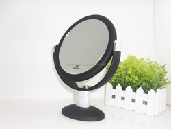 10x magnification black tabletop makeup mirror, soft touch cosmetic mirrors, double sided vanity mirrors