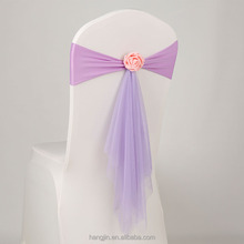 Chair Sash Bands Spandex Stretch Lycra Chair Cover Sashes Bows with organza sahses for Weddings