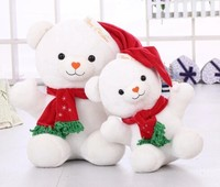 white teddy bear dolls, plush teddy bear with christmas decoration