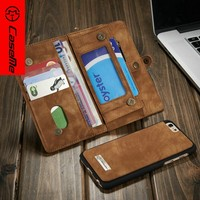 CaseMe flip wallet smartphone leather case for iPhone 6, with cash slots and card slots