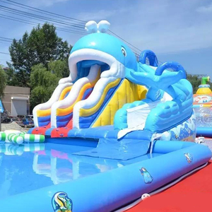 White Whale inflatable water park air slide inflatable water pool