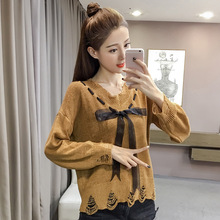 B40816A Fashion young lady autumn broken holes bowknot knit sweater