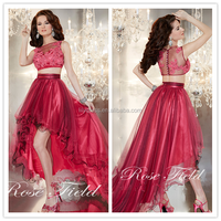 Red Tulle Short Front Long Back Custom Made Floor Length Long Formal Party Evening Dresses Designs CP067 Prom dresses 2 pieces